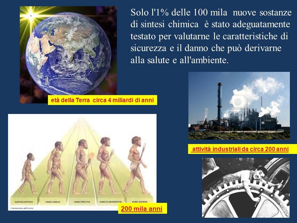 200 mila anni attività industriali da circa 200 anni età della Terra circa 4 miliardi di anni Solo l'1% delle 100 mila nuove sostanze di sintesi chimi