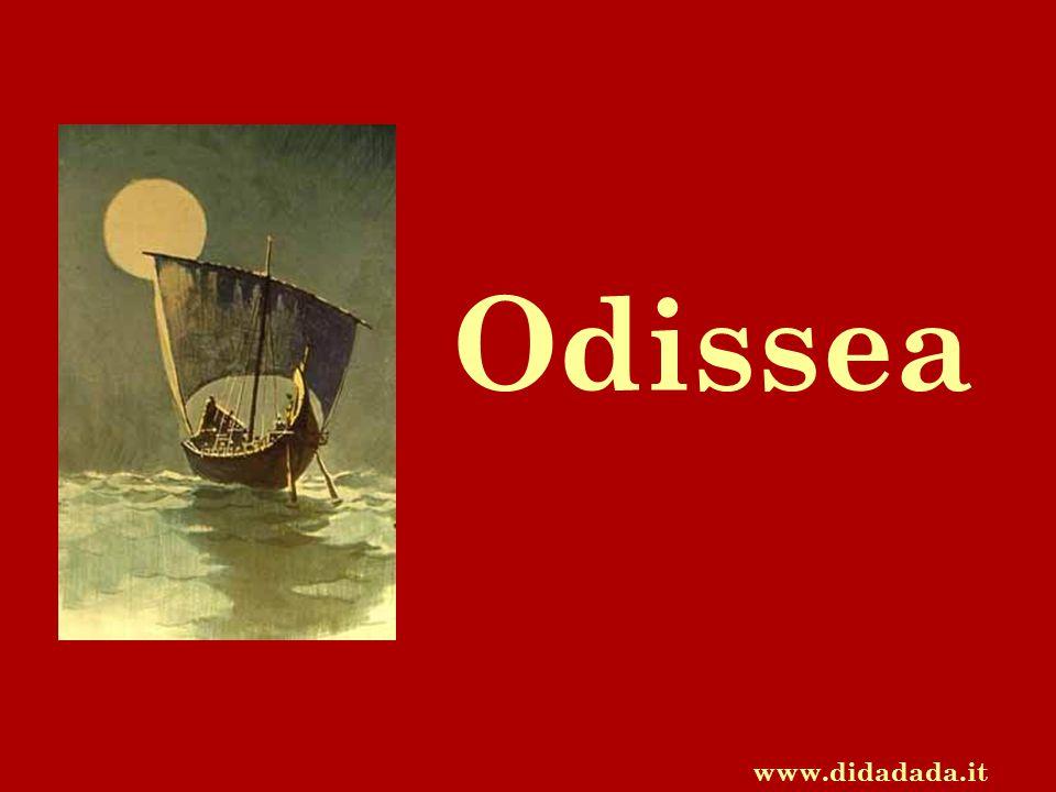 L' Odissea è un poema in 24 canti (12.0000 versi) che prende il nome dal suo protagonista, Ulisse (in greco Odisseo) Nell' Odissea è raccontato il nostos (viaggio di ritorno) di Ulisse da Troia a Itaca, isola di cui è re.