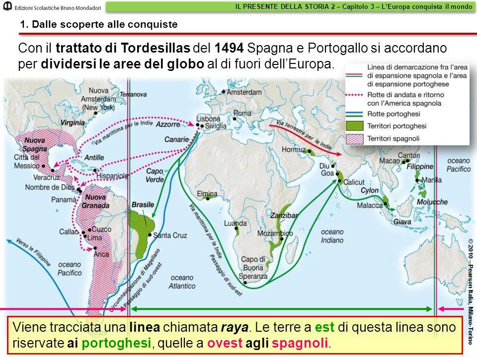 Con il trattato di Tordesillas del 1494 Spagna e Portogallo si accordano per dividersi le aree del globo al di fuori dell'Europa. IL PRESENTE DELLA ST