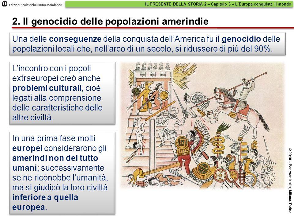 Una delle conseguenze della conquista dell'America fu il genocidio delle popolazioni locali che, nell'arco di un secolo, si ridussero di più del 90%.