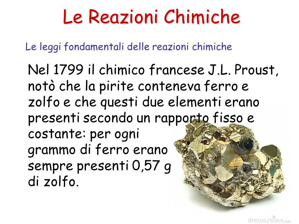 Le Reazioni Chimiche Nel 1799 il chimico francese J.L. Proust, notò che la pirite conteneva ferro e zolfo e che questi due elementi erano presenti sec