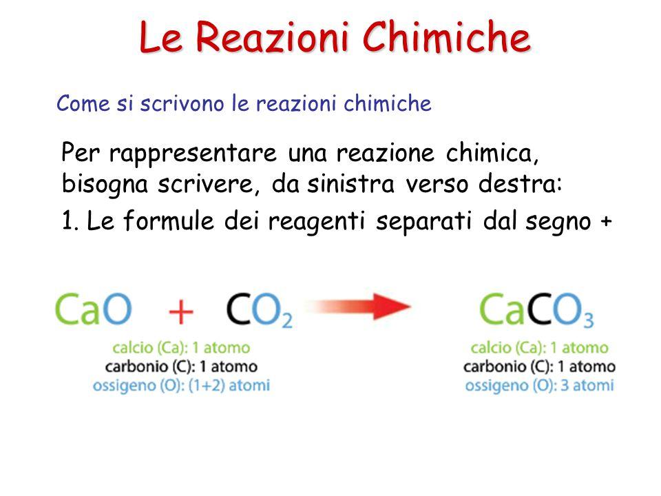 Le Reazioni Chimiche Per rappresentare una reazione chimica, bisogna scrivere, da sinistra verso destra: 1. Le formule dei reagenti separati dal segno