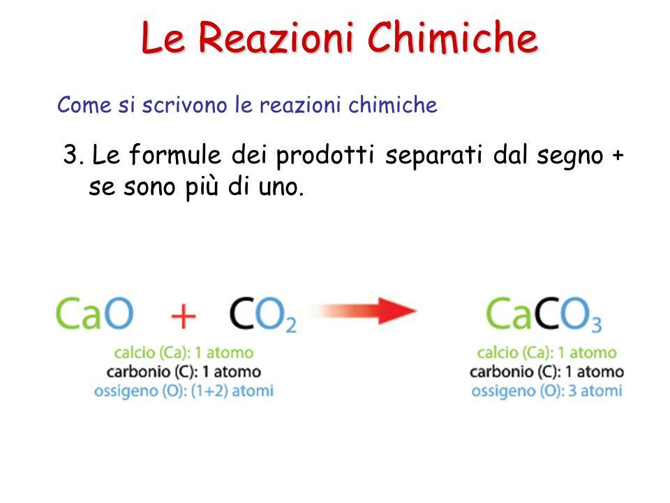 Le Reazioni Chimiche 3. Le formule dei prodotti separati dal segno + se sono più di uno. Come si scrivono le reazioni chimiche
