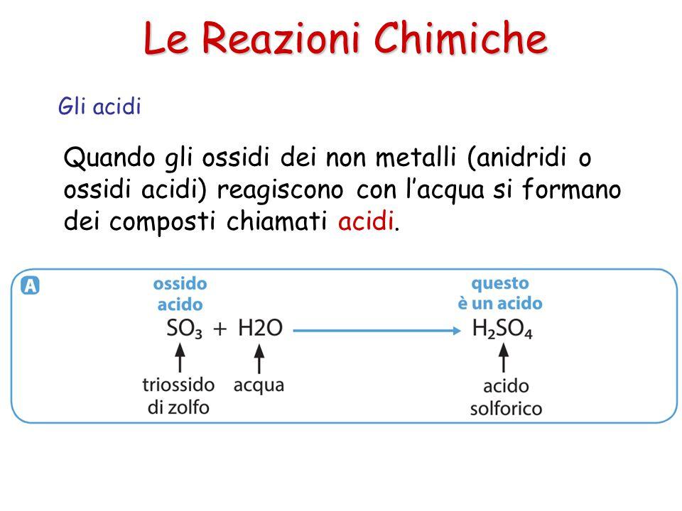 Le Reazioni Chimiche Quando gli ossidi dei non metalli (anidridi o ossidi acidi) reagiscono con l'acqua si formano dei composti chiamati acidi. Gli ac