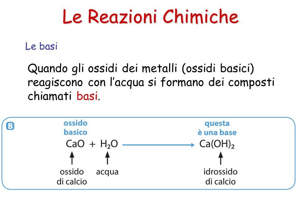 Le Reazioni Chimiche Quando gli ossidi dei metalli (ossidi basici) reagiscono con l'acqua si formano dei composti chiamati basi. Le basi