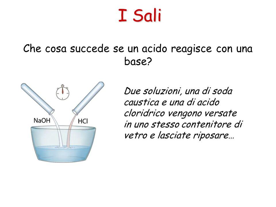 I Sali Che cosa succede se un acido reagisce con una base? Due soluzioni, una di soda caustica e una di acido cloridrico vengono versate in uno stesso