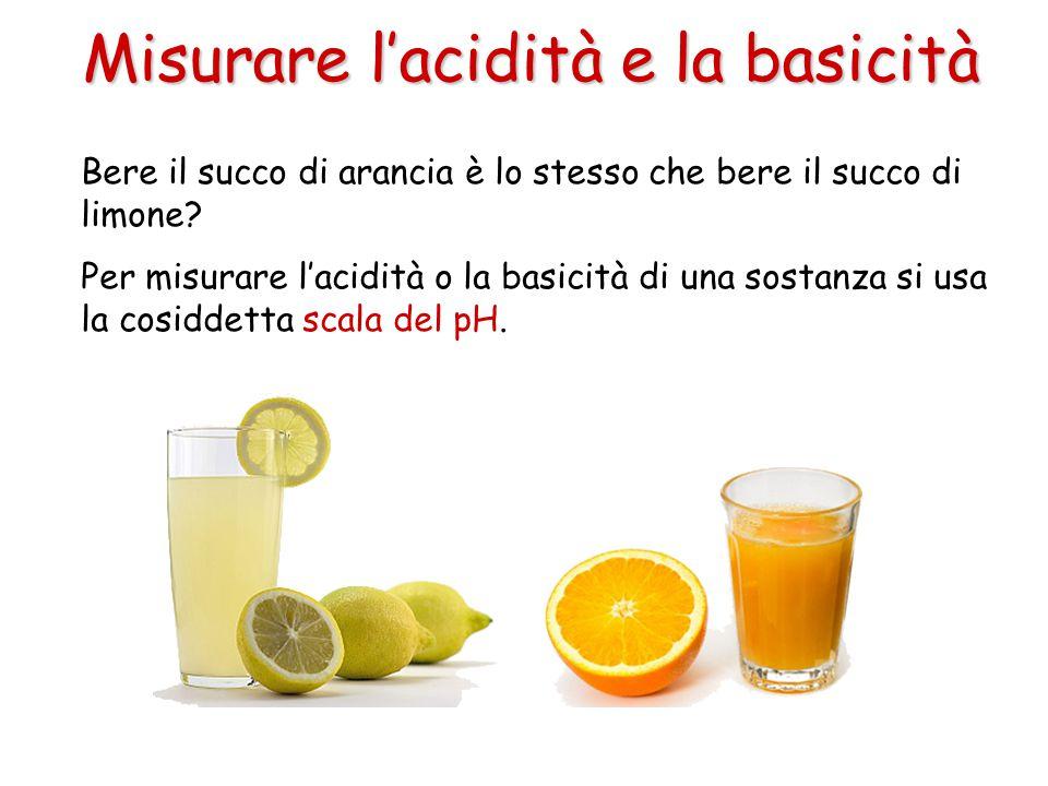 Misurare l'acidità e la basicità Bere il succo di arancia è lo stesso che bere il succo di limone? Per misurare l'acidità o la basicità di una sostanz