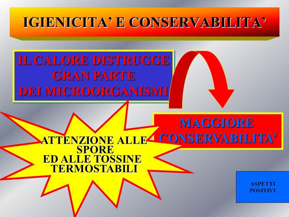 IGIENICITA' E CONSERVABILITA' IL CALORE DISTRUGGE GRAN PARTE GRAN PARTE DEI MICROORGANISMI IL CALORE DISTRUGGE GRAN PARTE GRAN PARTE DEI MICROORGANISMI MAGGIORECONSERVABILITA' ATTENZIONE ALLE SPORE SPORE ED ALLE TOSSINE TERMOSTABILI ASPETTI POSITIVI