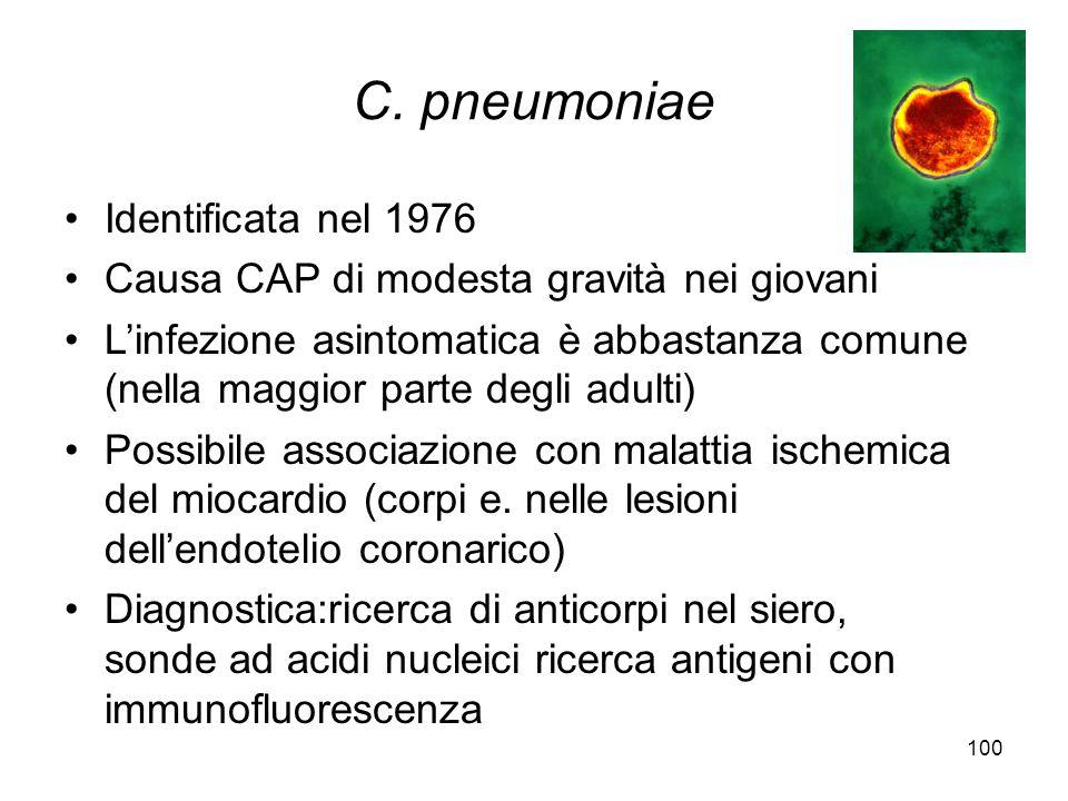 100 C. pneumoniae Identificata nel 1976 Causa CAP di modesta gravità nei giovani L'infezione asintomatica è abbastanza comune (nella maggior parte deg