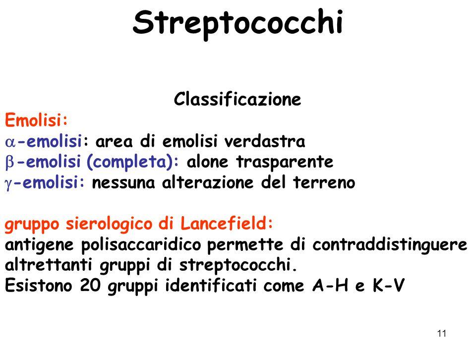 11 Streptococchi Classificazione Emolisi:  -emolisi: area di emolisi verdastra  -emolisi (completa): alone trasparente  -emolisi: nessuna alterazio