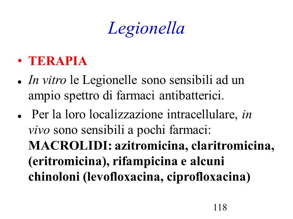 118 Legionella TERAPIA In vitro le Legionelle sono sensibili ad un ampio spettro di farmaci antibatterici. Per la loro localizzazione intracellulare,
