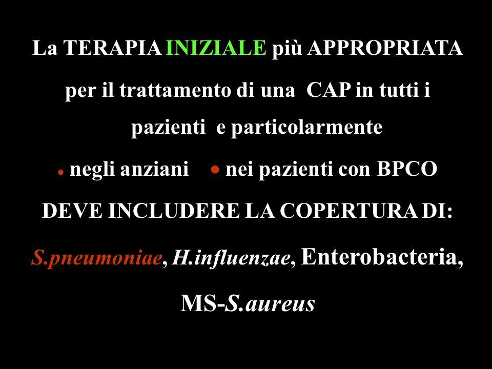 La TERAPIA INIZIALE più APPROPRIATA per il trattamento di una CAP in tutti i pazienti e particolarmente  negli anziani  nei pazienti con BPCO DEVE I