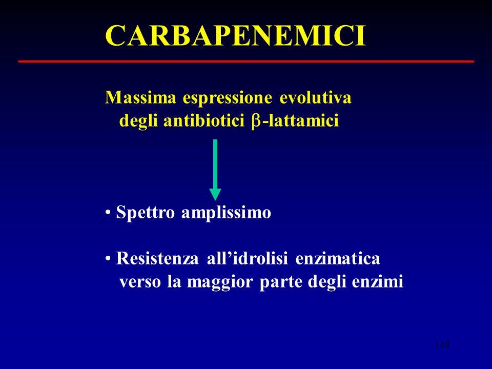 149 CARBAPENEMICI Massima espressione evolutiva degli antibiotici  -lattamici Spettro amplissimo Resistenza all'idrolisi enzimatica verso la maggior