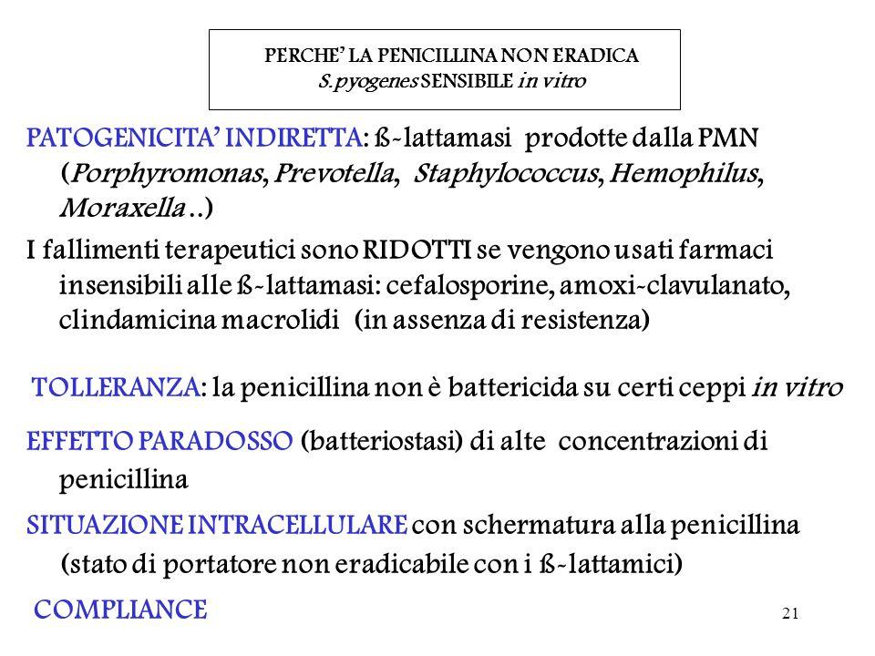 21 PERCHE' LA PENICILLINA NON ERADICA S.pyogenes SENSIBILE in vitro PATOGENICITA' INDIRETTA: ß-lattamasi prodotte dalla PMN (Porphyromonas, Prevotella