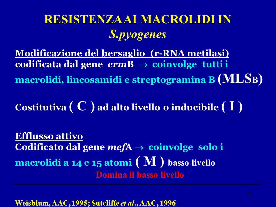 24 RESISTENZA AI MACROLIDI IN S.pyogenes Modificazione del bersaglio (r-RNA metilasi) codificata dal gene ermB  coinvolge tutti i macrolidi, lincosam