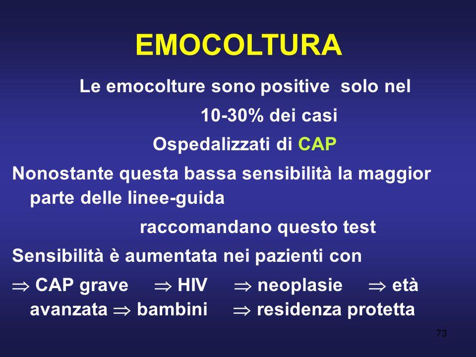 73 EMOCOLTURA Le emocolture sono positive solo nel 10-30% dei casi Ospedalizzati di CAP Nonostante questa bassa sensibilità la maggior parte delle lin