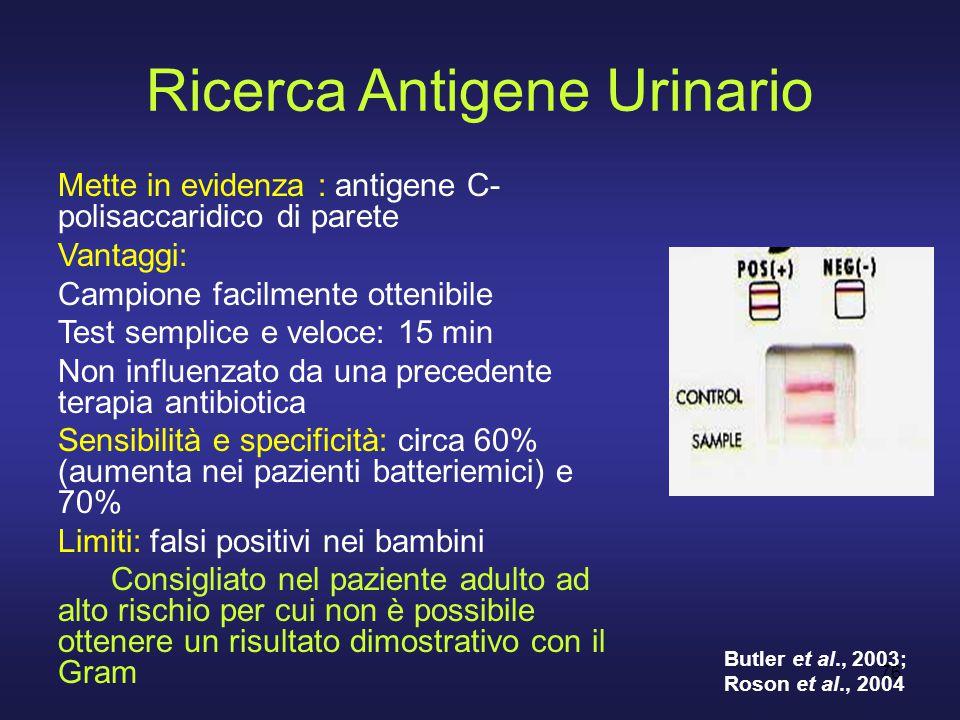 76 Ricerca Antigene Urinario Mette in evidenza : antigene C- polisaccaridico di parete Vantaggi: Campione facilmente ottenibile Test semplice e veloce