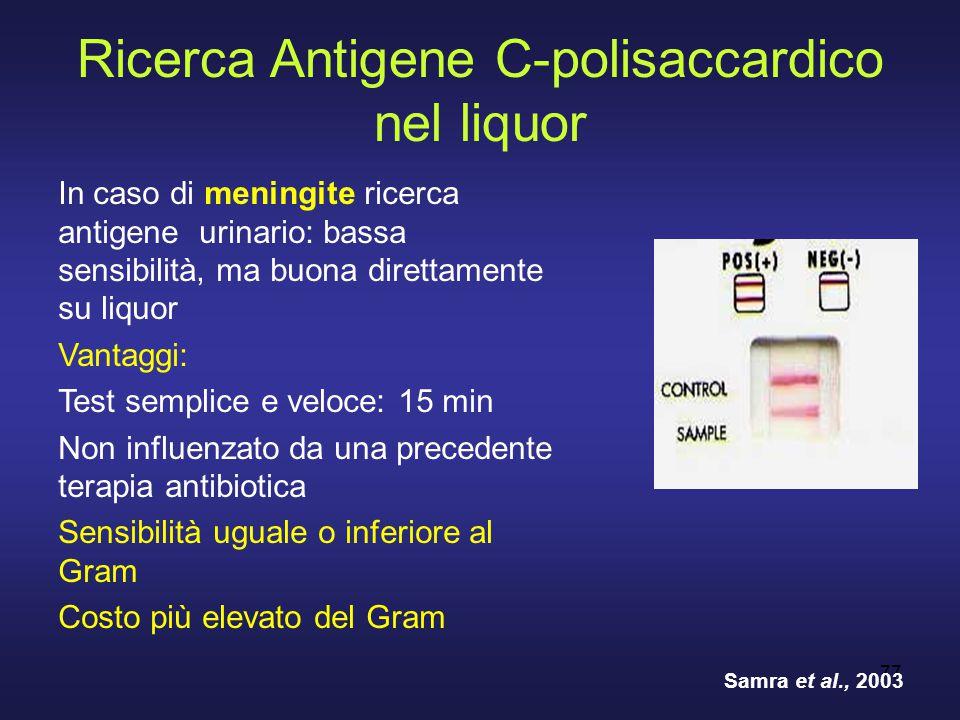 77 Ricerca Antigene C-polisaccardico nel liquor In caso di meningite ricerca antigene urinario: bassa sensibilità, ma buona direttamente su liquor Van