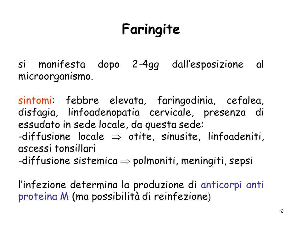 9 Faringite si manifesta dopo 2-4gg dall'esposizione al microorganismo. sintomi: febbre elevata, faringodinia, cefalea, disfagia, linfoadenopatia cerv