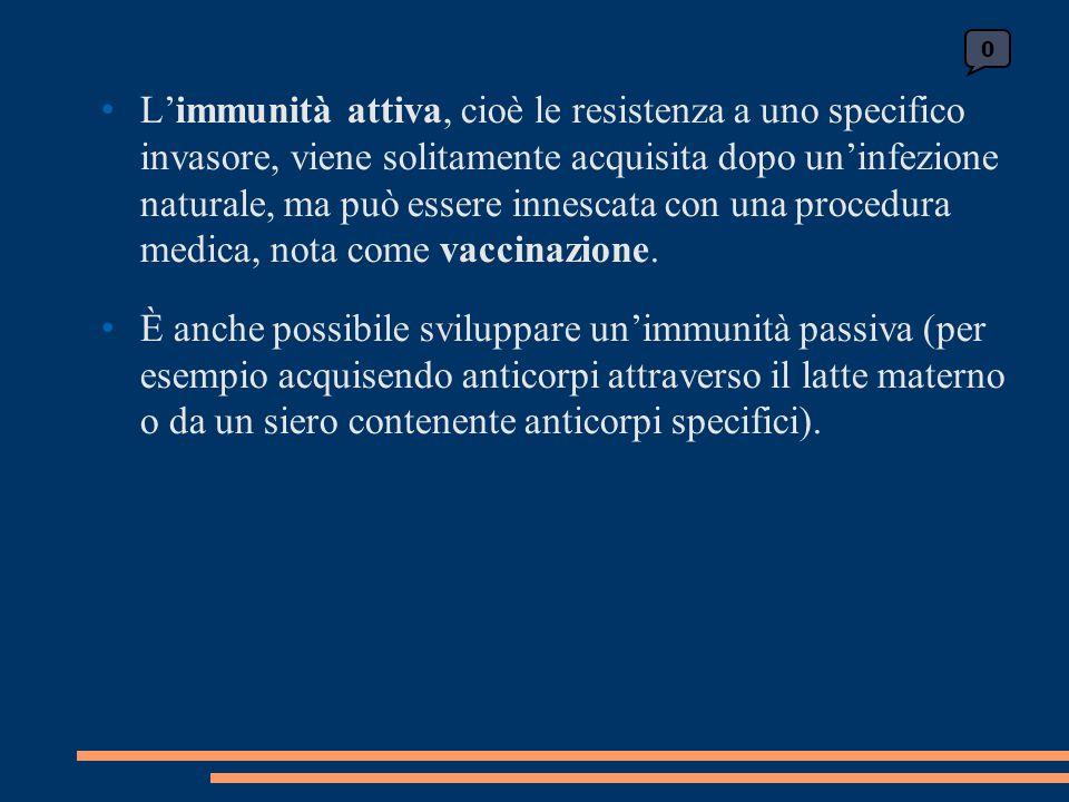 L'immunità attiva, cioè le resistenza a uno specifico invasore, viene solitamente acquisita dopo un'infezione naturale, ma può essere innescata con un