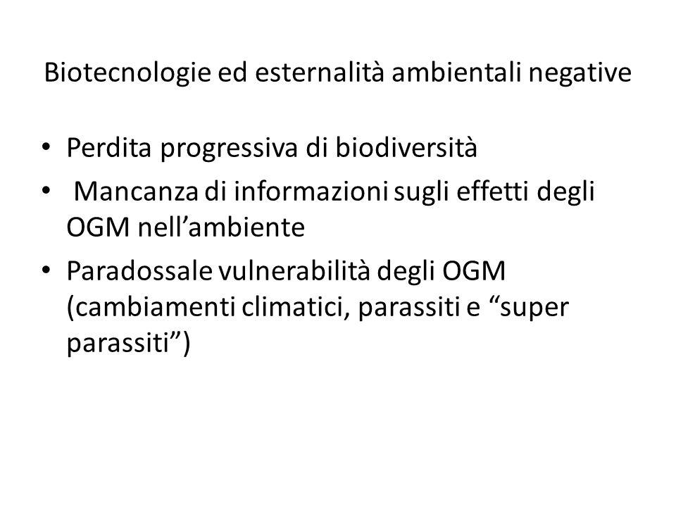 Biotecnologie ed esternalità ambientali negative Perdita progressiva di biodiversità Mancanza di informazioni sugli effetti degli OGM nell'ambiente Pa