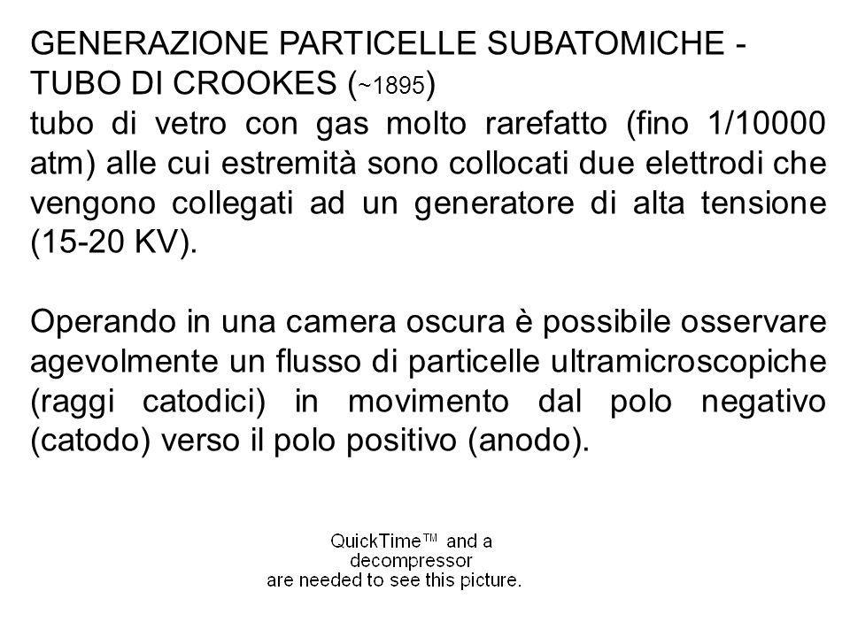 GENERAZIONE PARTICELLE SUBATOMICHE - TUBO DI CROOKES ( ~1895 ) tubo di vetro con gas molto rarefatto (fino 1/10000 atm) alle cui estremità sono colloc