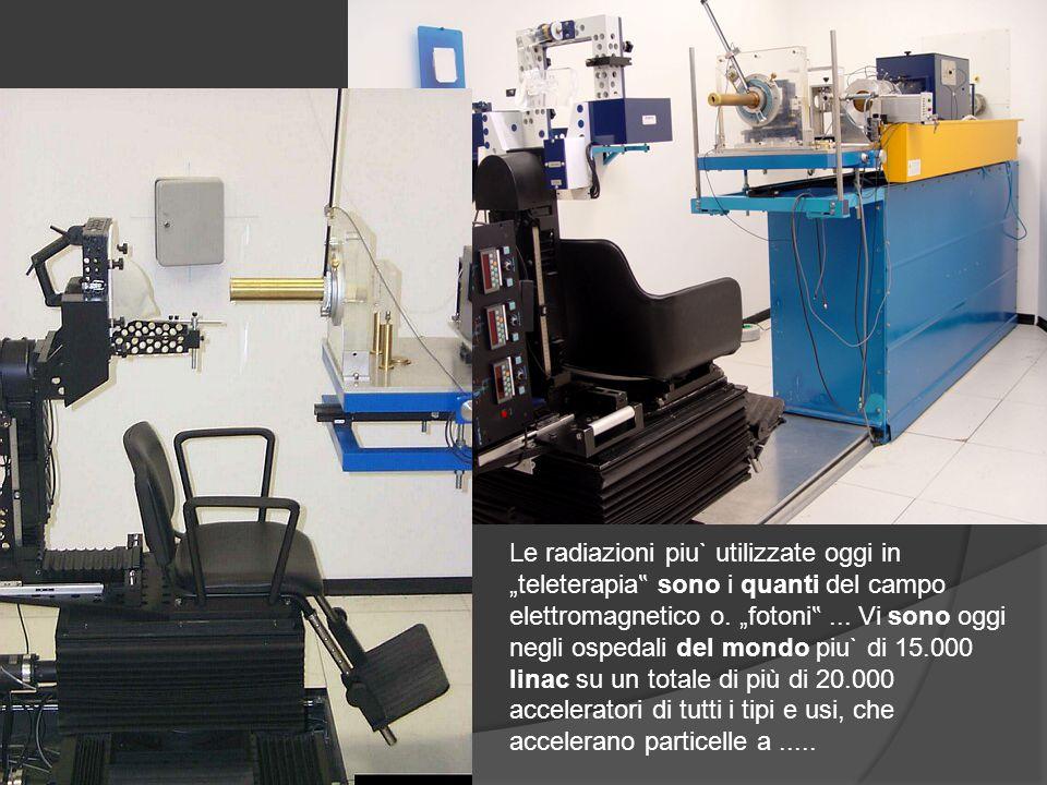 """Le radiazioni piu` utilizzate oggi in """"teleterapia """" sono i quanti del campo elettromagnetico o. """"fotoni """"... Vi sono oggi negli ospedali del mondo pi"""