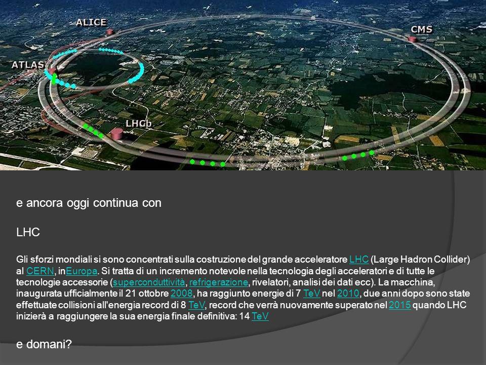 e ancora oggi continua con LHC Gli sforzi mondiali si sono concentrati sulla costruzione del grande acceleratore LHC (Large Hadron Collider) al CERN,