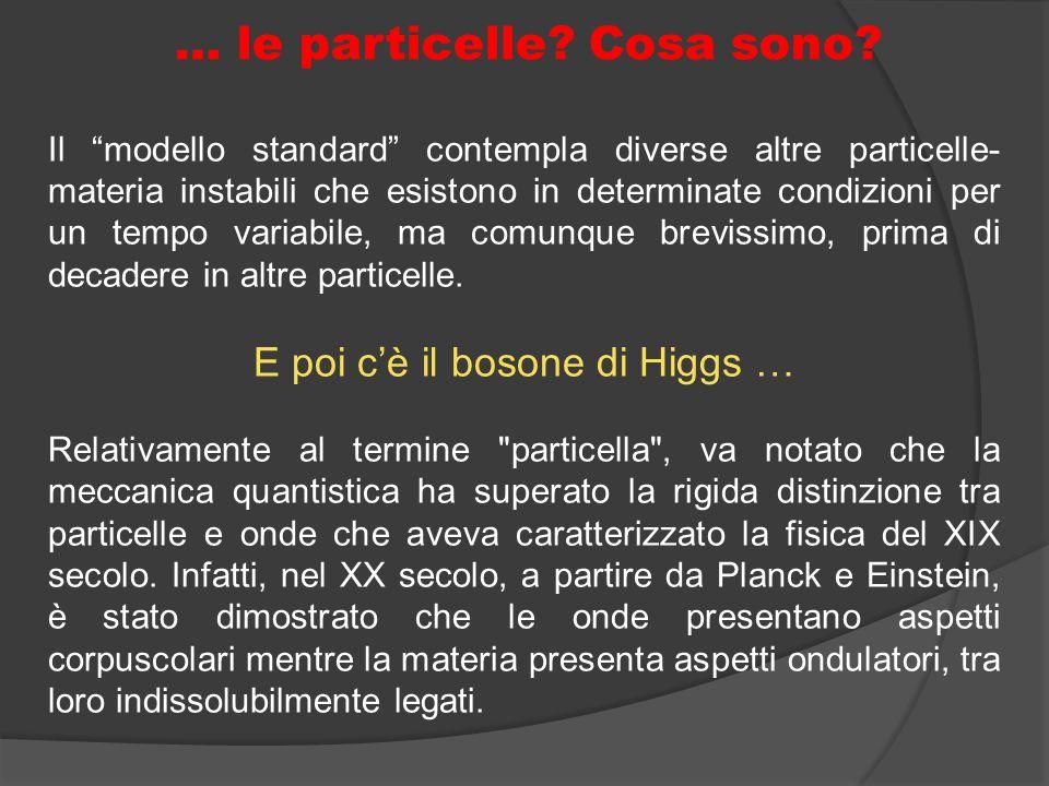 """… le particelle? Cosa sono? Il """"modello standard"""" contempla diverse altre particelle- materia instabili che esistono in determinate condizioni per un"""