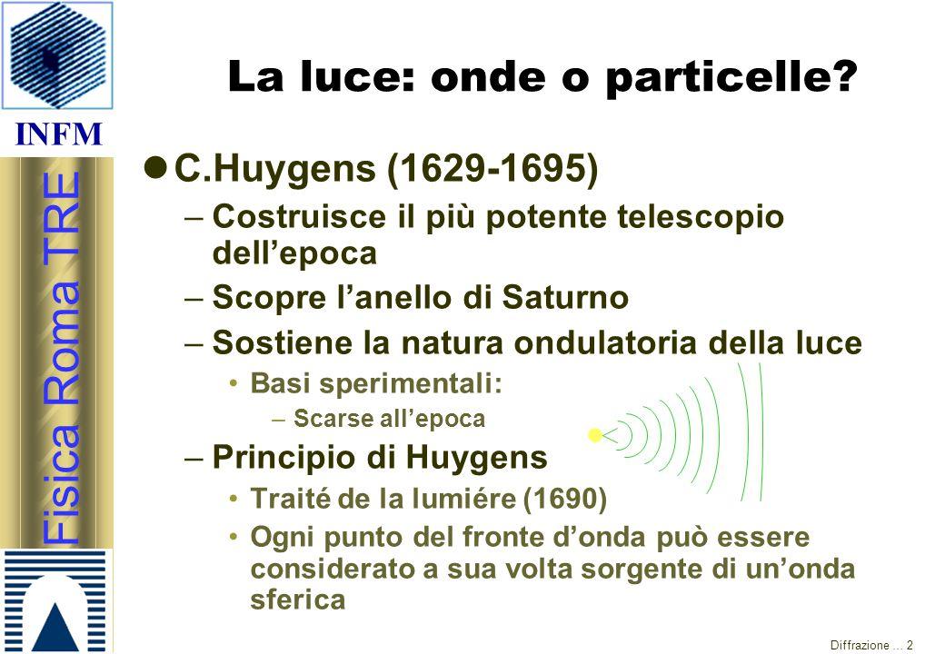 INFM Fisica Roma TRE Diffrazione … 2 La luce: onde o particelle? C.Huygens (1629-1695) –Costruisce il più potente telescopio dell'epoca –Scopre l'anel