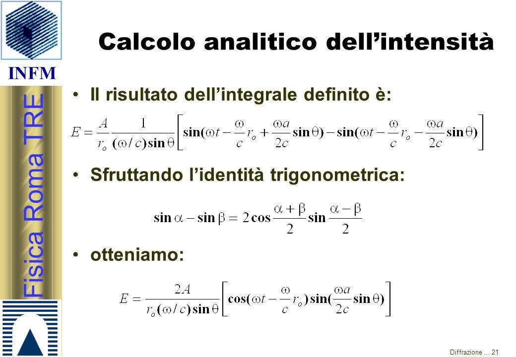 INFM Fisica Roma TRE Diffrazione … 21 Calcolo analitico dell'intensità Il risultato dell'integrale definito è: Sfruttando l'identità trigonometrica: o