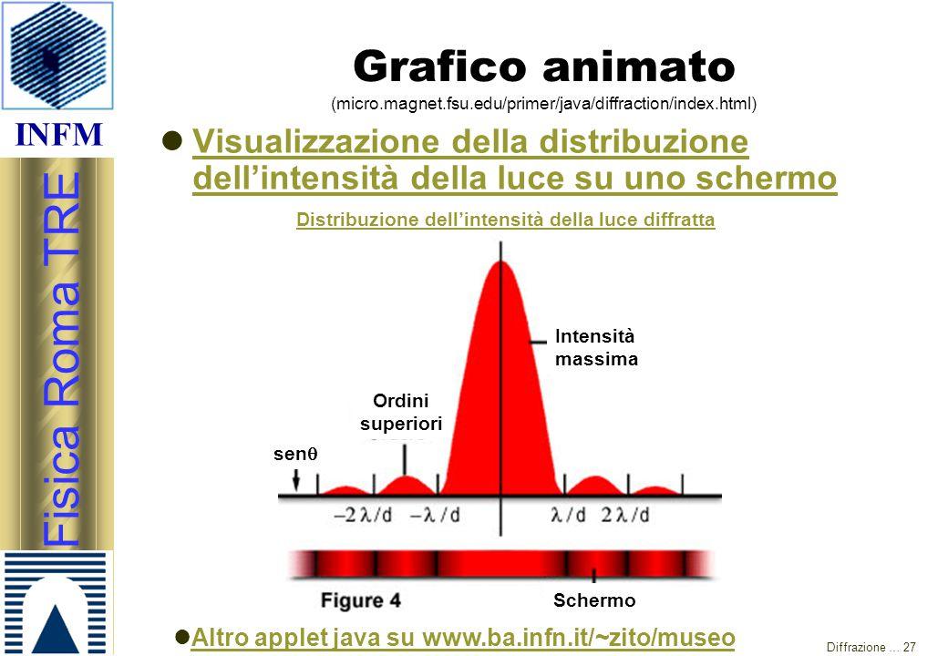 INFM Fisica Roma TRE Diffrazione … 27 Grafico animato (micro.magnet.fsu.edu/primer/java/diffraction/index.html) Visualizzazione della distribuzione de
