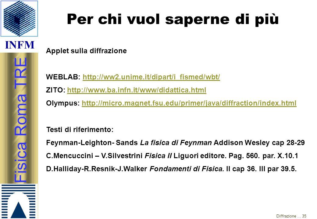 INFM Fisica Roma TRE Diffrazione … 35 Per chi vuol saperne di più Applet sulla diffrazione WEBLAB: http://ww2.unime.it/dipart/i_fismed/wbt/http://ww2.