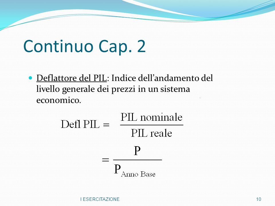 Continuo Cap. 2 Deflattore del PIL: Indice dell'andamento del livello generale dei prezzi in un sistema economico. I ESERCITAZIONE10