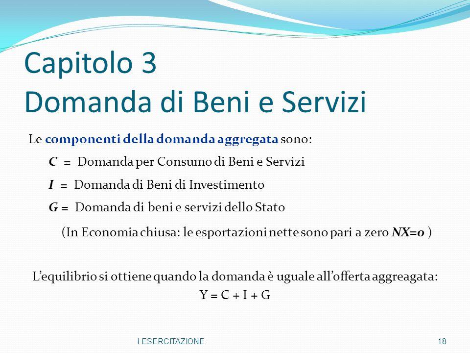 Capitolo 3 Domanda di Beni e Servizi Le componenti della domanda aggregata sono: C = Domanda per Consumo di Beni e Servizi I = Domanda di Beni di Inve