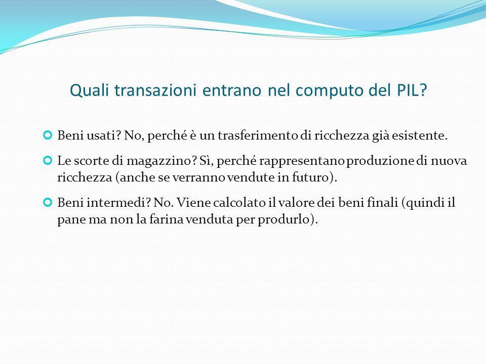 Capitolo 2: I dati della macroeconomia Misure alternative della ricchezza Prodotto interno e prodotto nazionale Prodotto nazionale lordo (PNL): Reddito totale ottenuto dai fattori di produzione nazionali localizzati anche all'estero Prodotto interno lordo (PIL): Reddito totale ottenuto dai fattori di produzione localizzati in Italia anche se esteri PNL = PIL + redditi esteri di residenti - redditi interni di non residenti (Il PIL è «preferibile» in quanto siamo interessanti a capire la quantità di beni e servizi prodotti da una certa economia)