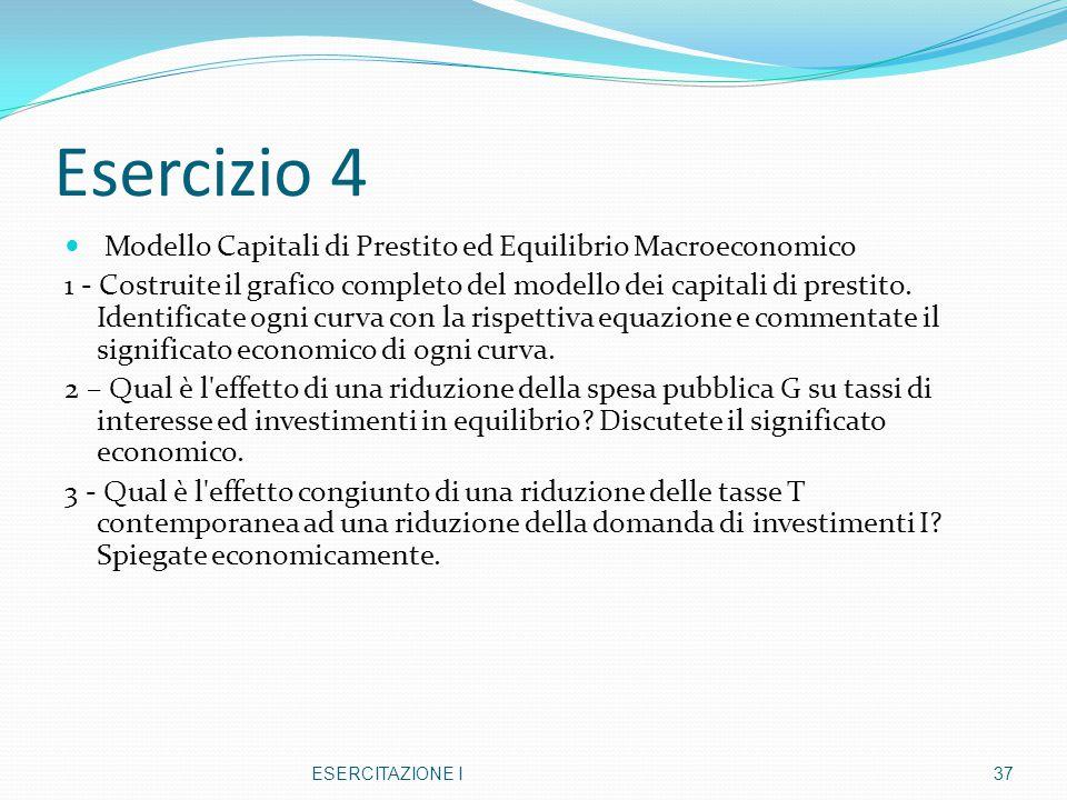 Esercizio 4 Modello Capitali di Prestito ed Equilibrio Macroeconomico 1 - Costruite il grafico completo del modello dei capitali di prestito. Identifi