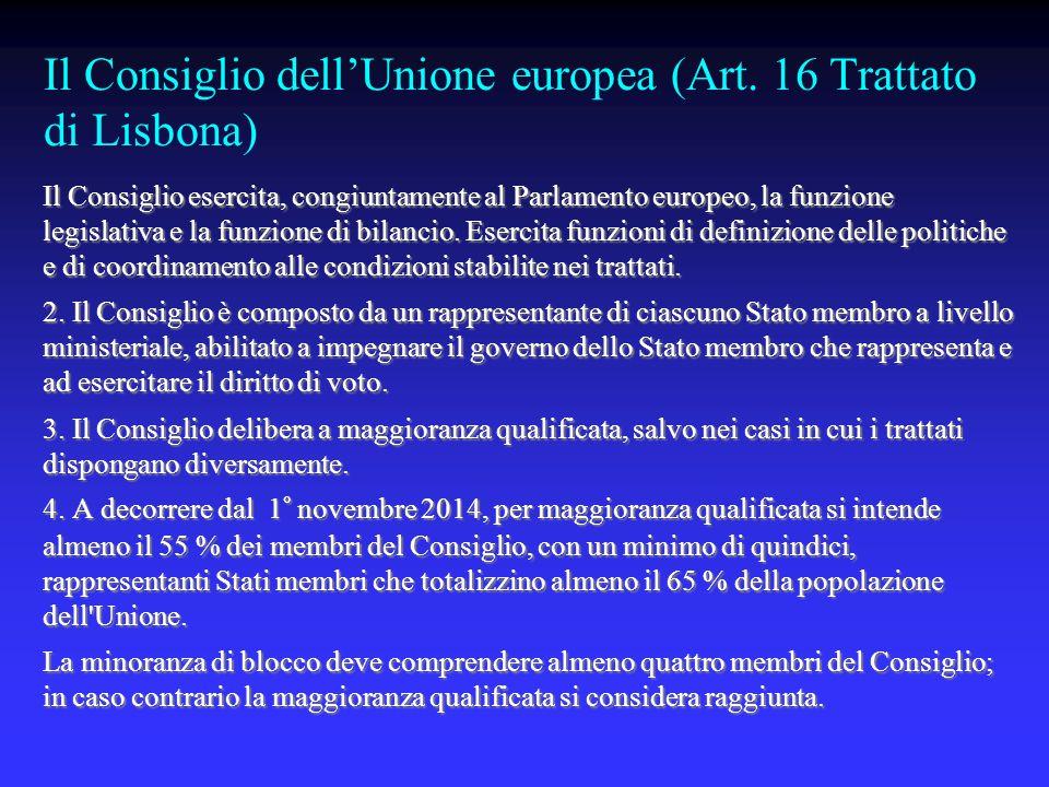 Il Consiglio dell'Unione europea (Art.