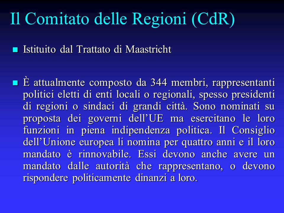 Il Comitato delle Regioni (CdR) Istituito dal Trattato di Maastricht Istituito dal Trattato di Maastricht È attualmente composto da 344 membri, rappresentanti politici eletti di enti locali o regionali, spesso presidenti di regioni o sindaci di grandi città.