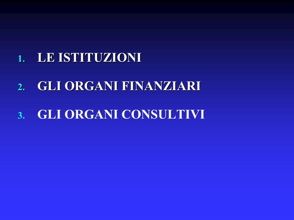 1. LE ISTITUZIONI 2. GLI ORGANI FINANZIARI 3. 3. GLI ORGANI CONSULTIVI