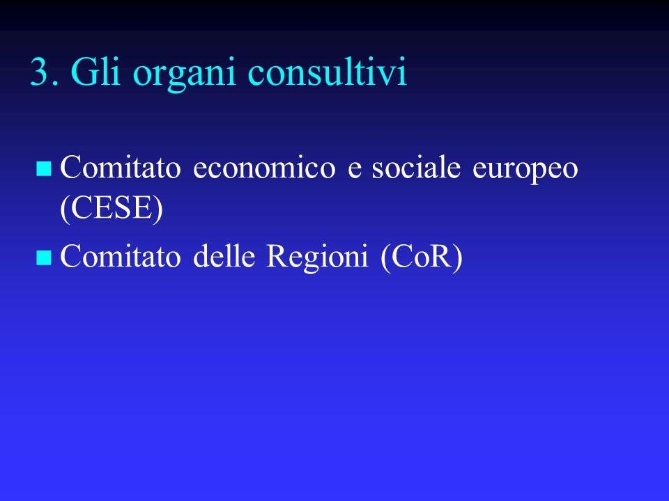 3. Gli organi consultivi Comitato economico e sociale europeo (CESE) Comitato delle Regioni (CoR)