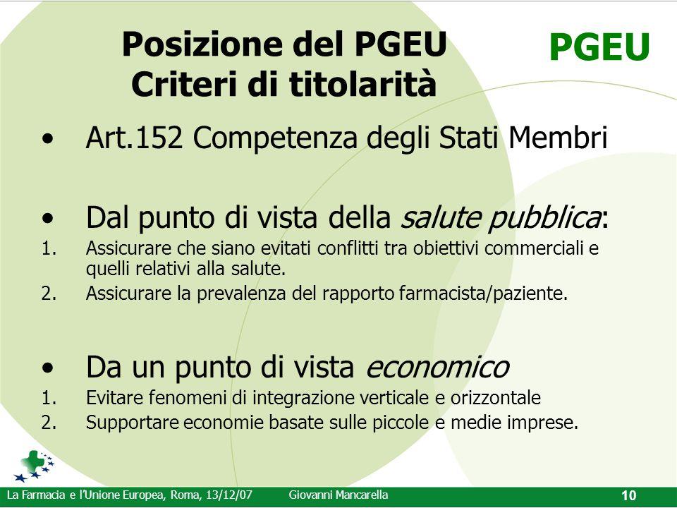 PGEU La Farmacia e l'Unione Europea, Roma, 13/12/07Giovanni Mancarella 10 Posizione del PGEU Criteri di titolarità Art.152 Competenza degli Stati Memb