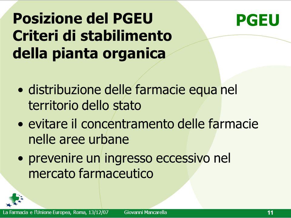 PGEU La Farmacia e l'Unione Europea, Roma, 13/12/07Giovanni Mancarella 11 Posizione del PGEU Criteri di stabilimento della pianta organica distribuzio
