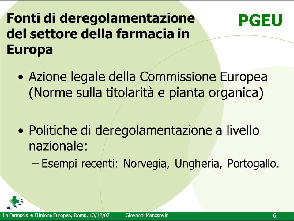 PGEU La Farmacia e l'Unione Europea, Roma, 13/12/07Giovanni Mancarella 6 Fonti di deregolamentazione del settore della farmacia in Europa Azione legal