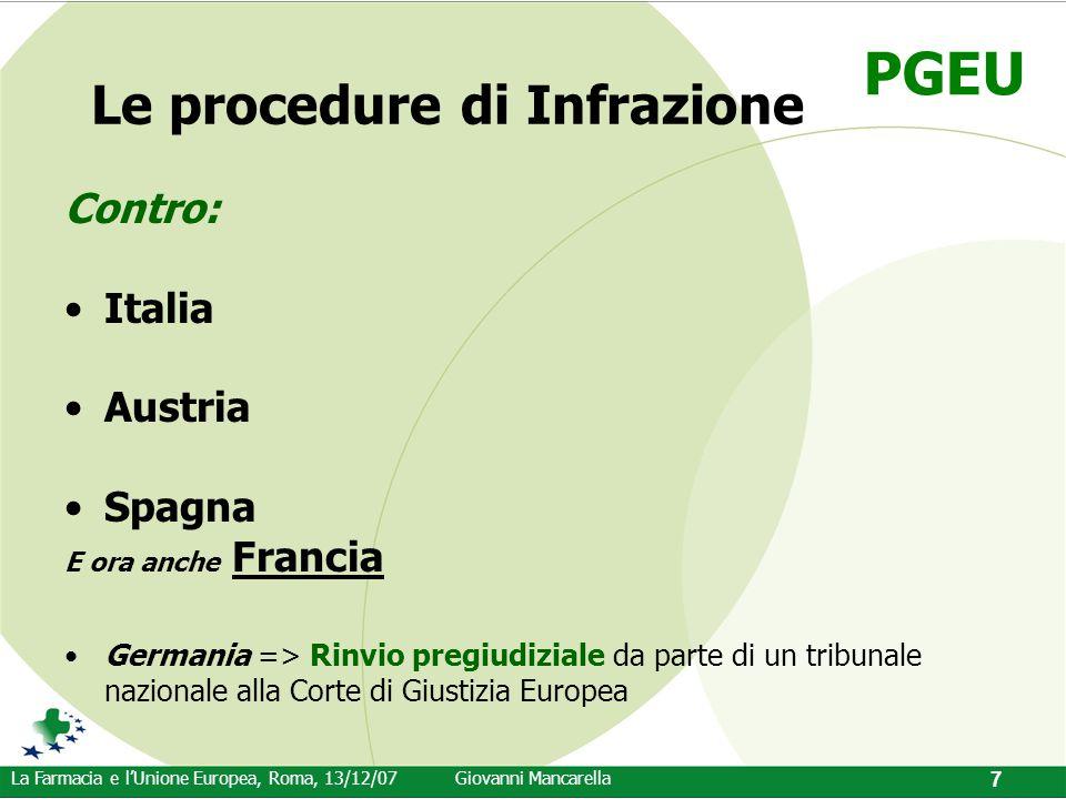 PGEU La Farmacia e l'Unione Europea, Roma, 13/12/07Giovanni Mancarella 7 Le procedure di Infrazione Contro: Italia Austria Spagna E ora anche Francia
