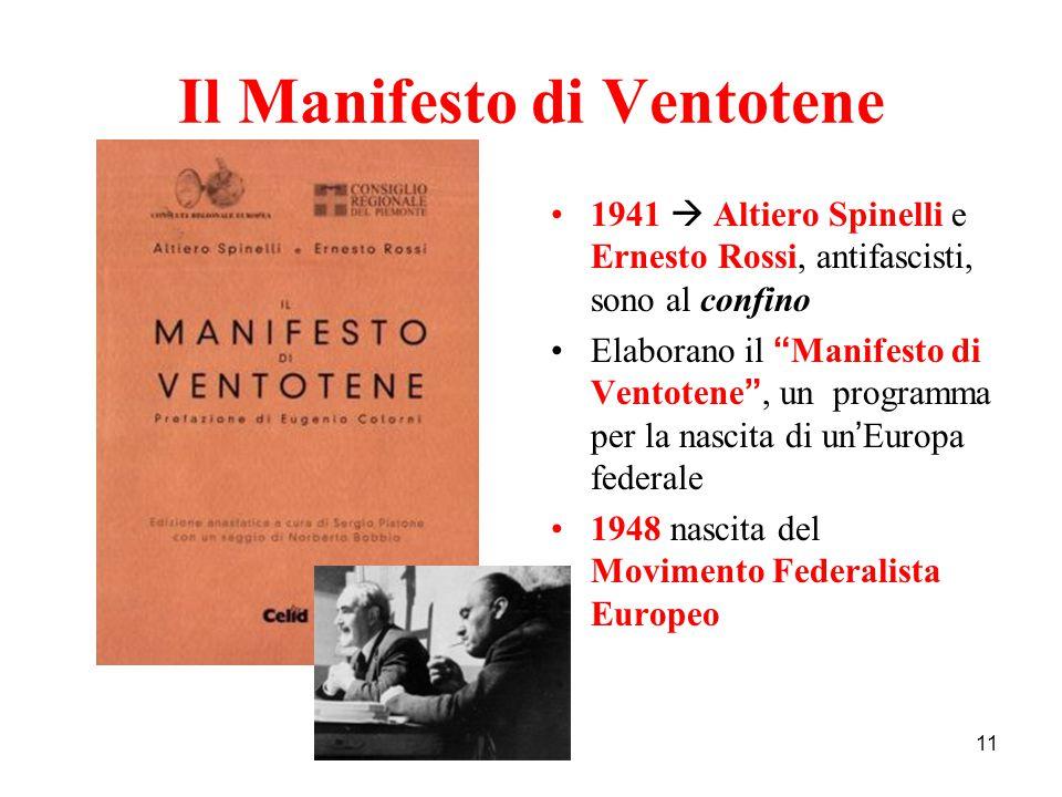 """11 Il Manifesto di Ventotene 1941  Altiero Spinelli e Ernesto Rossi, antifascisti, sono al confino Elaborano il """" Manifesto di Ventotene """", un progra"""