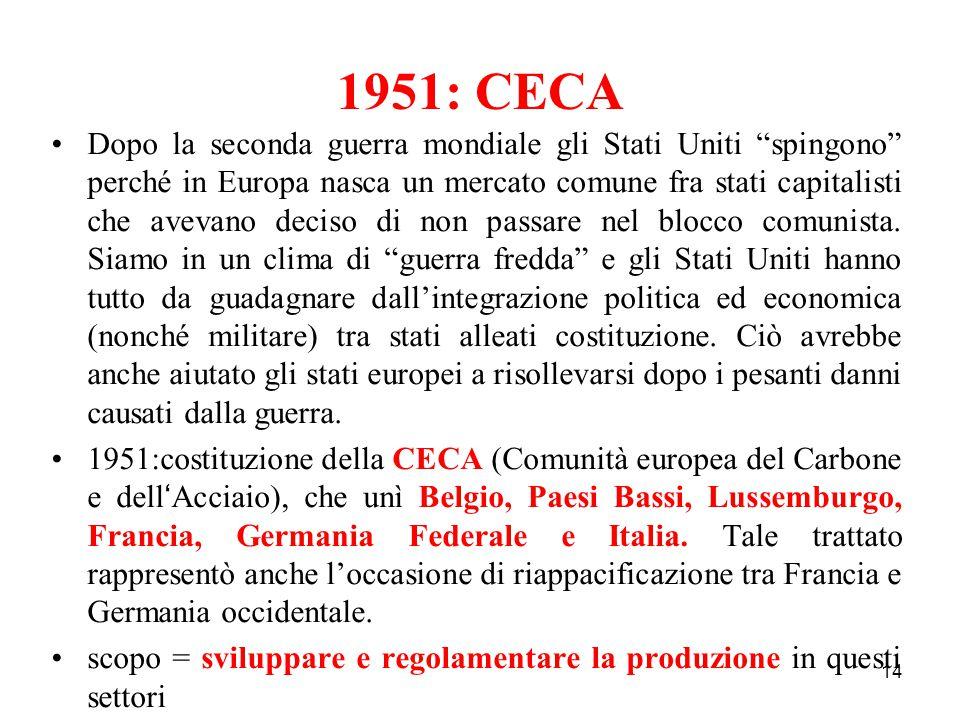 """14 1951: CECA Dopo la seconda guerra mondiale gli Stati Uniti """"spingono"""" perché in Europa nasca un mercato comune fra stati capitalisti che avevano de"""