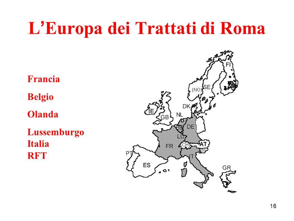 16 L ' Europa dei Trattati di Roma Francia Belgio Olanda Lussemburgo Italia RFT