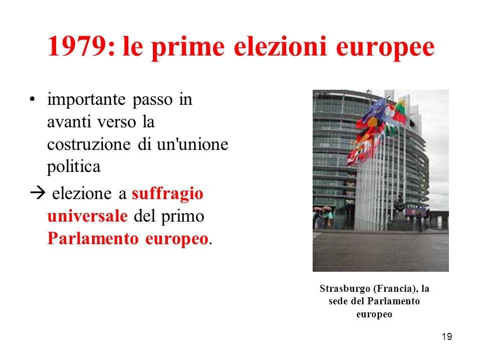 19 1979: le prime elezioni europee importante passo in avanti verso la costruzione di un'unione politica  elezione a suffragio universale del primo P
