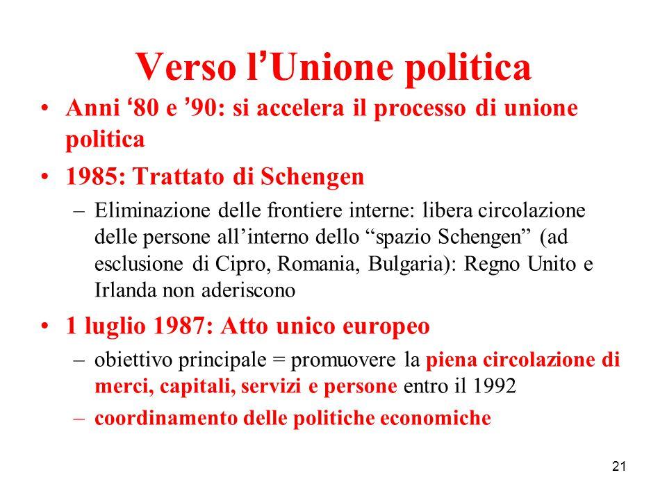 21 Verso l ' Unione politica Anni ' 80 e ' 90: si accelera il processo di unione politica 1985: Trattato di Schengen –Eliminazione delle frontiere int